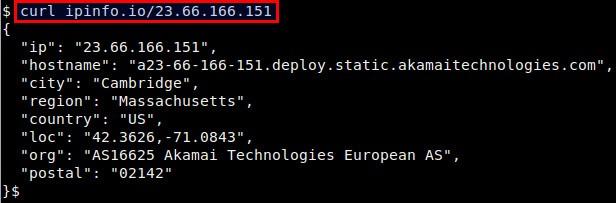 如何通过命令行查找一个IP的地理位置信息