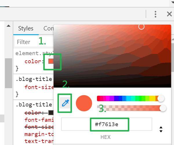 Chrome 上的 拾色器